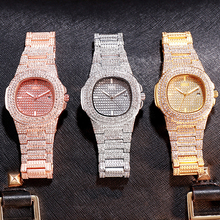 цена на Four-color quartz watch fashion square starry suit steel band watch rhinestone calendar watch ladies watch