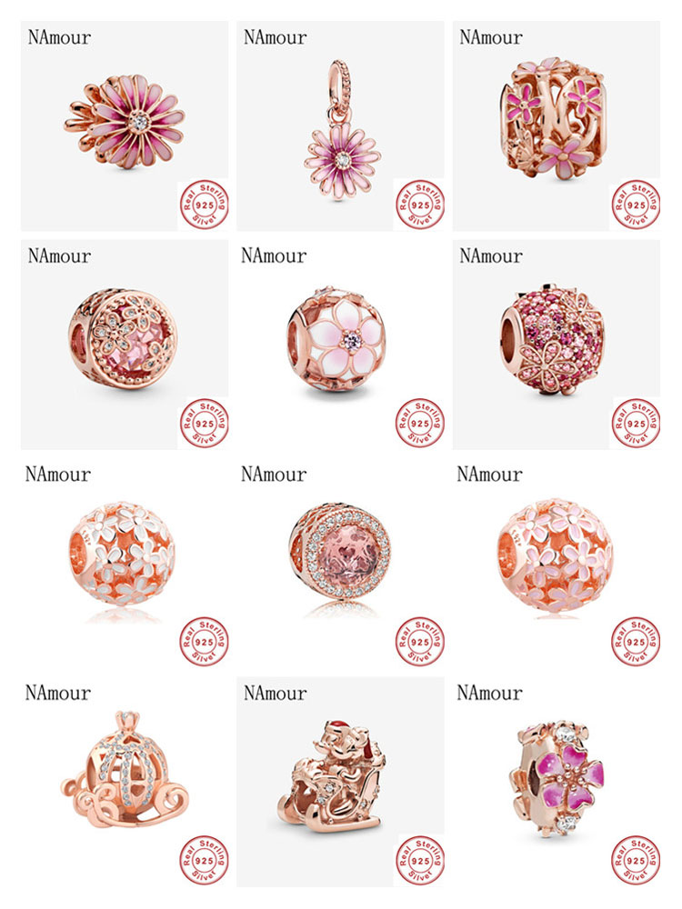 Newst Original openwork pink sparkling pink daisy rose bead fit Pandora charms silver 925 Bracelet necklace DIY women jewelry(China)