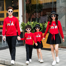 Autumn and winter suit outfit mommy daughter matching family costumes clothes mom dad son  moeder zoon kleding
