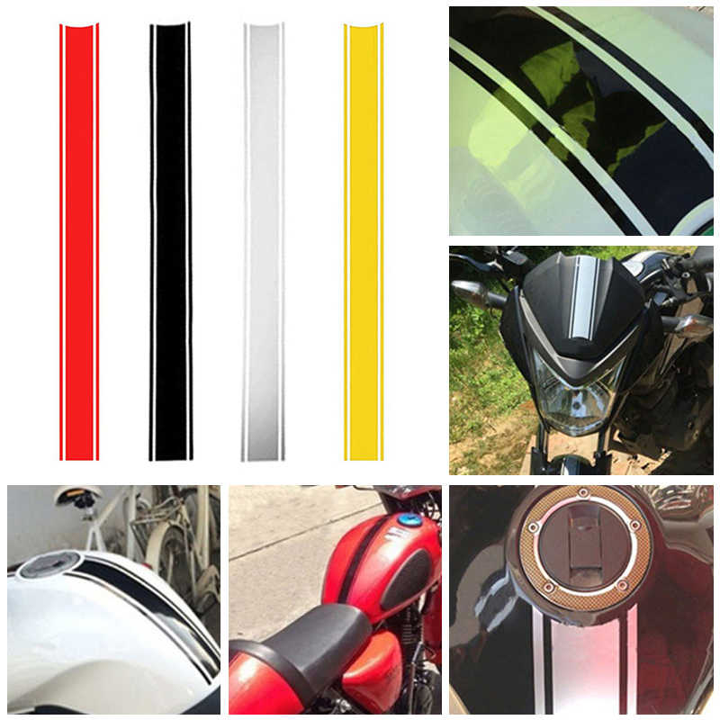 50Cm Motorfiets Reflecterende Tank Cover Sticker Gestreepte Diy Sticker Grappige Decoratie Sticker Brandstoftank Deksel Reflecterende Sticker