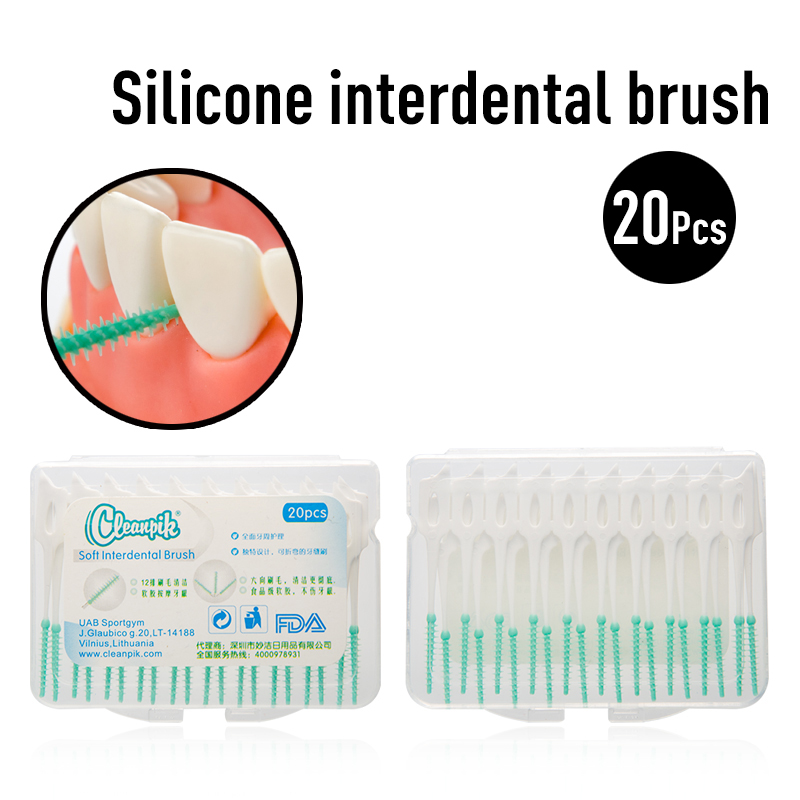 20PCS Adults Interdental Brush Clean Between Teeth Floss Soft Picks Interdental Brushes With Portable Toothpick Oral Care Tool