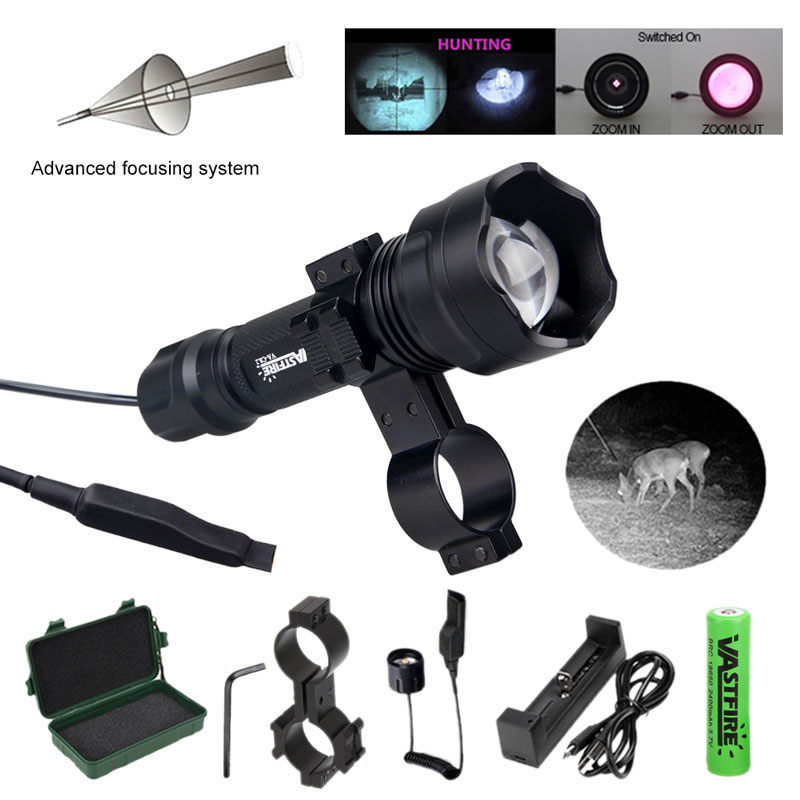 IR 850nm 7w Flashlight Night Vision Infrared Zoomable LED Hunting IR Torch/Pressure Switch Mounts 18650 Battery Charger+box