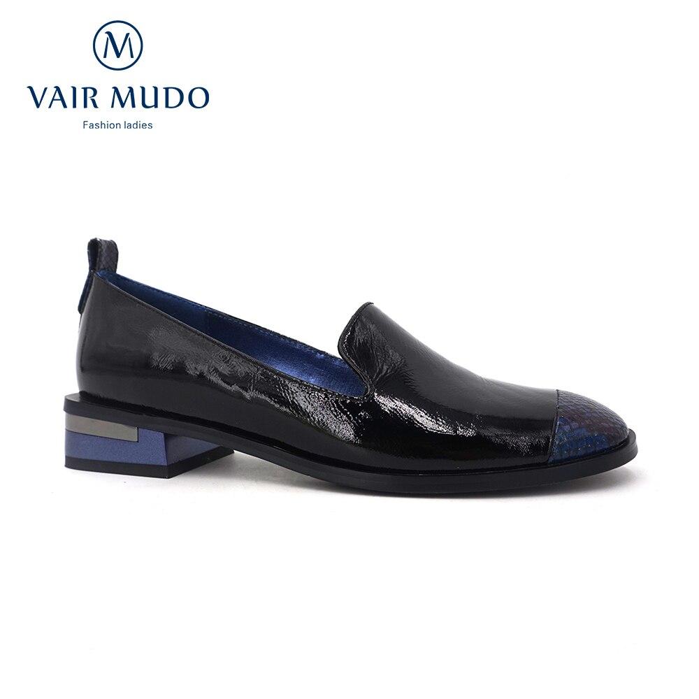 Vair mudo mulher bombas sapatos senhoras primavera outono salto baixo deslizamento em couro de patente dedo do pé redondo casual retalhos femininos elegantd155