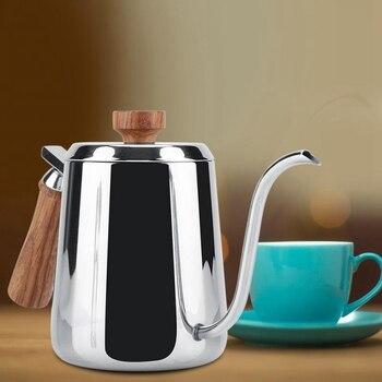 ABUI-Stainless Steel Wooden Handle Drip Coffee Pot Long Gooseneck Spout Kettle Moka Coffee Tea Pot 6
