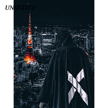 UNSETTLE Mens Hooded Windbreakerแจ็คเก็ตญี่ปุ่นHoodiesพิมพ์Coats Streetwear Batwingเสื้อคลุมแฟชั่นผู้ชายTops
