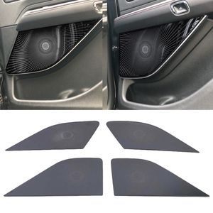 Image 5 - Lincoln Aviator 2020 2021 자동차 스타일링 스테인레스 스틸 자동차 도어 오디오 스피커 자동 트위터 장식 커버 트림 3D 스티커
