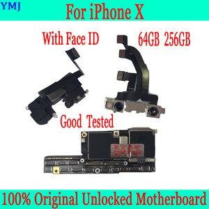 Image 1 - 100% Originele Ontgrendeld Voor Iphone X Moederbord Zonder Gezicht Id/Met Gezicht Id Moederbord 64 Gb 256 Gb Voor iphone X Logic Boards