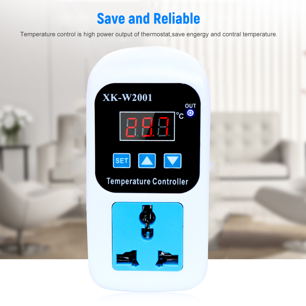 LED Thermostat Switch With Probe Digital Temperature Controller Socket 110V - 220V 1500W for Reptiles Brewing -<font><b>50</b></font> To <font><b>110C</b></font> image