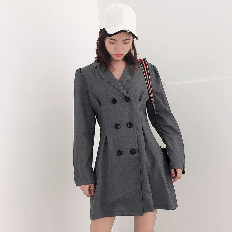 Women's solid color blazer Temperament slim dress female autumn new retro double-breasted suit short skirt