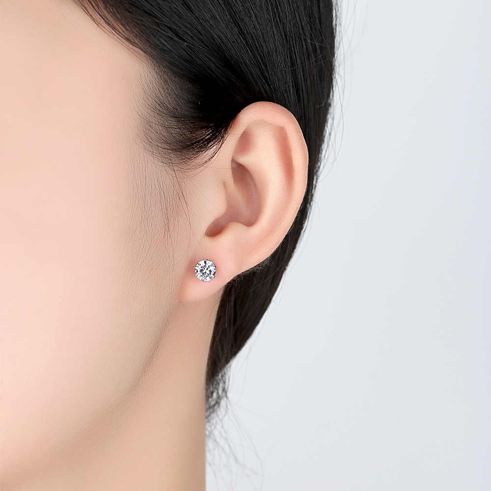 ZHOUYANG Stud Earrings For Women Simple 6 Claws Zircon Mosaic Creativity Silver & Gold-Color Daily Fashion Jewelry KAE066