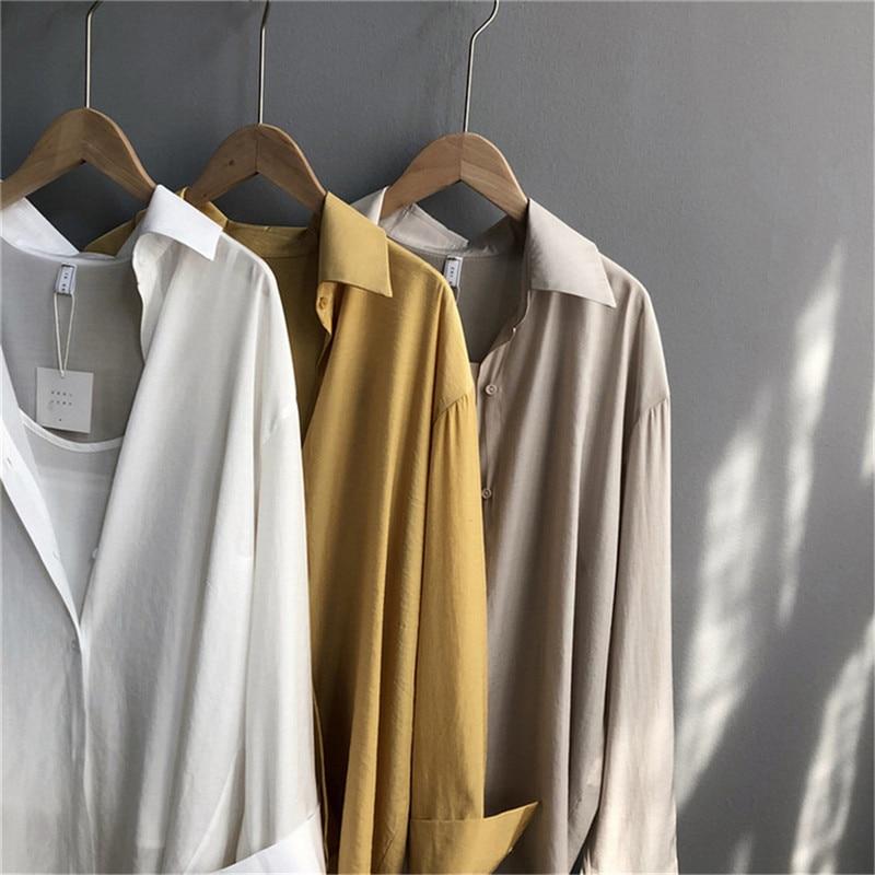 High quality 2pcs Women Blouse Shirt 2020 Summer Solid All match Satin Blouses Shirts Femal Blouse+halter tops Z1082 (7)