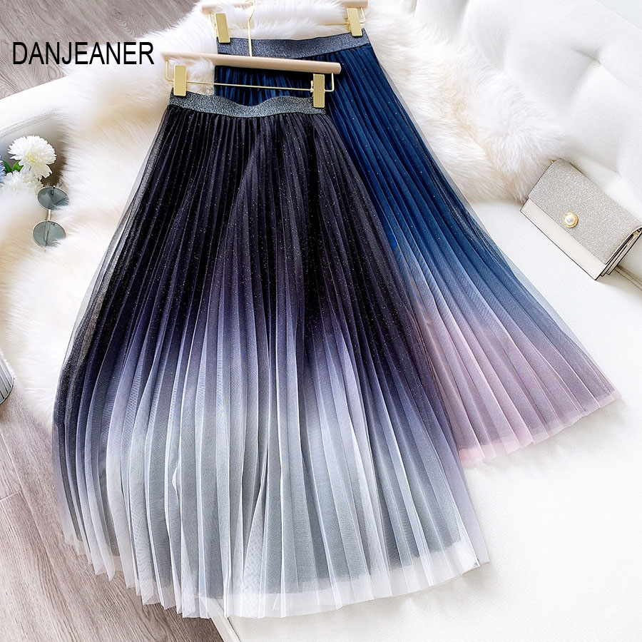 DANJEAN Starry Sky Gradient Mesh Skirt Female 2020 Spring High Waist Tulle Pleated Skirt FairyThin A-line Skirt Streetwear