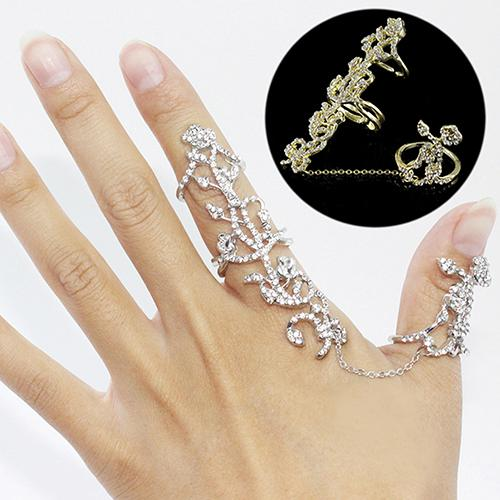2016 Rings Multiple Finger Stack Knuckle Band Crystal Set Womens Fashion Jewelry