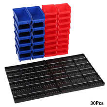 30pcs Wall Mounted Bins Part Bins Organizer with Panel Set for Garage Workshop Storage System Portable Tool Box Storage Bin Rack
