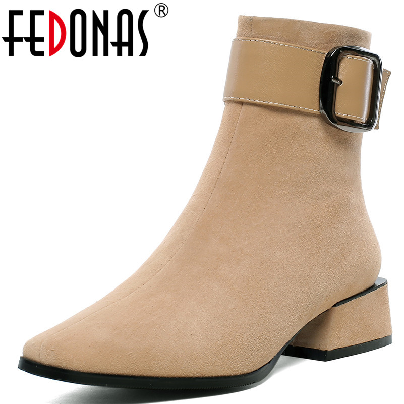 FEDONAS New Warm Kid Suede Women Ankle Boots Square Heels Buckle Chelsea Boots Elegant Short Boots Female Plus Size Shoes Woman-in Ankle Boots from Shoes    1
