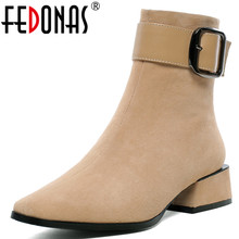 FEDONAS New Warm Kid Suede Women Ankle Boots Square Heels Buckle Chelsea Boots Elegant Short Boots Female Plus Size Shoes Woman