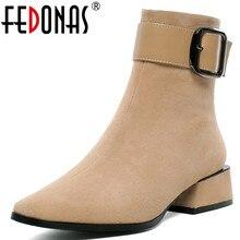 FEDONAS yeni sıcak çocuk süet kadın yarım çizmeler kare topuklu toka Chelsea çizmeler zarif kısa çizmeler kadın artı boyutu ayakkabı kadın