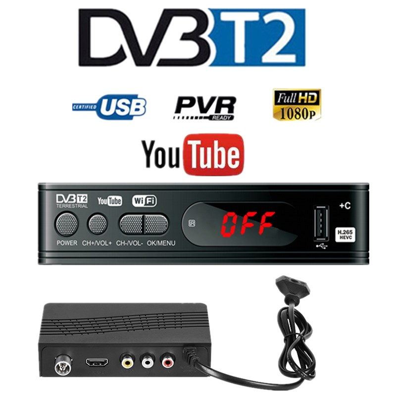HD 1080p Tv Tuner Dvb T2 Vga TV  Dvb-t2 For Monitor Adapter USB2 0 Tuner Receiver Satellite Decoder Dvbt2 Russian Manual