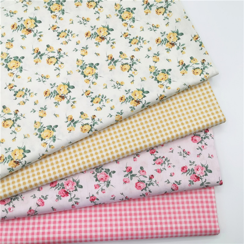 Graceful All Over Yellow Pink Blooming Rose Flower & Checks Printed Cotton Fabric 50x160cm Floral Fabric Patchwork Cloth Dress