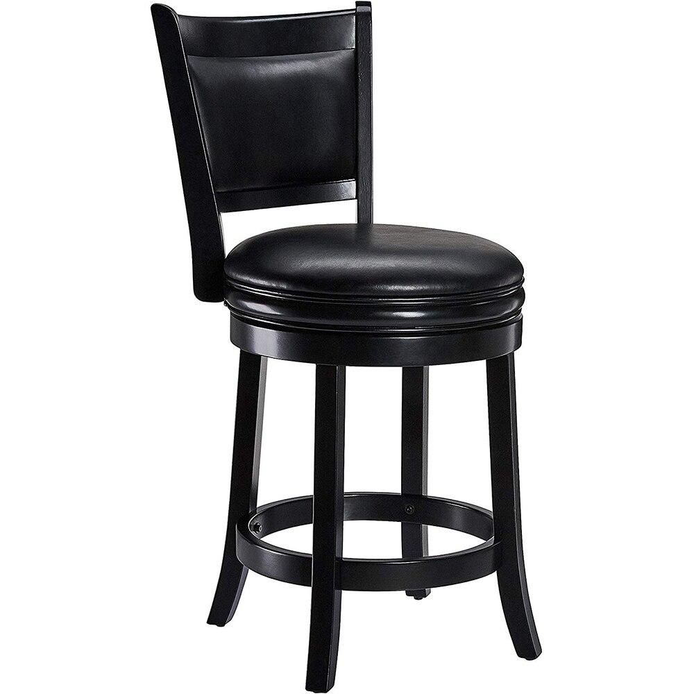 Вращающийся барный стул твердая древесина назад барный стул высокий стул кожаный поворотный барный стул черный барный стул