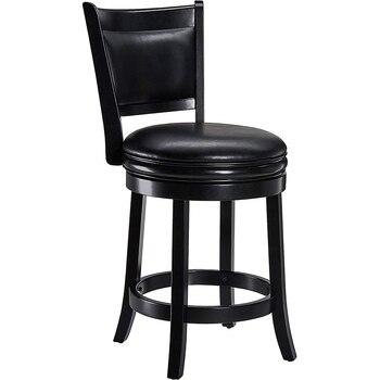 Вращающийся барный стул твердая древесина назад барный стул высокий стул кожаный поворотный барный стул черный барный стул фото