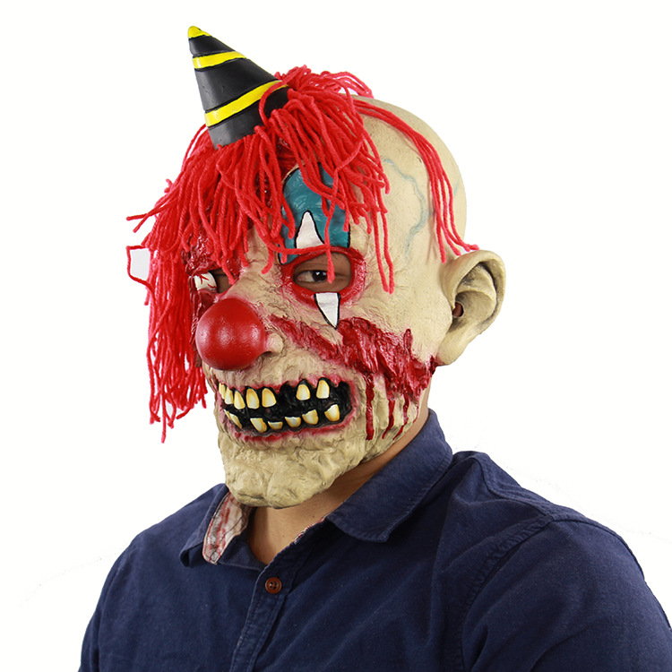Halloween Horror Plush Bloody Clown Latex Masks Mask  Airsoft Mardi Gras Dress