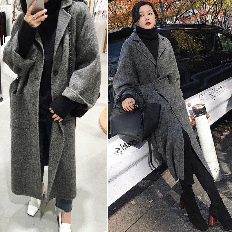 2019 Chic Wide Lapel Women Winter Coat With Belt  Women Woolen Blend Winter Tihck Cotton Coat Women Manteau Femme XS-XL