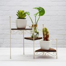 Mini Iron Art 3 Layers Flower Stand for Home Desktop Succulent Plants Pot Display Shelf Storage