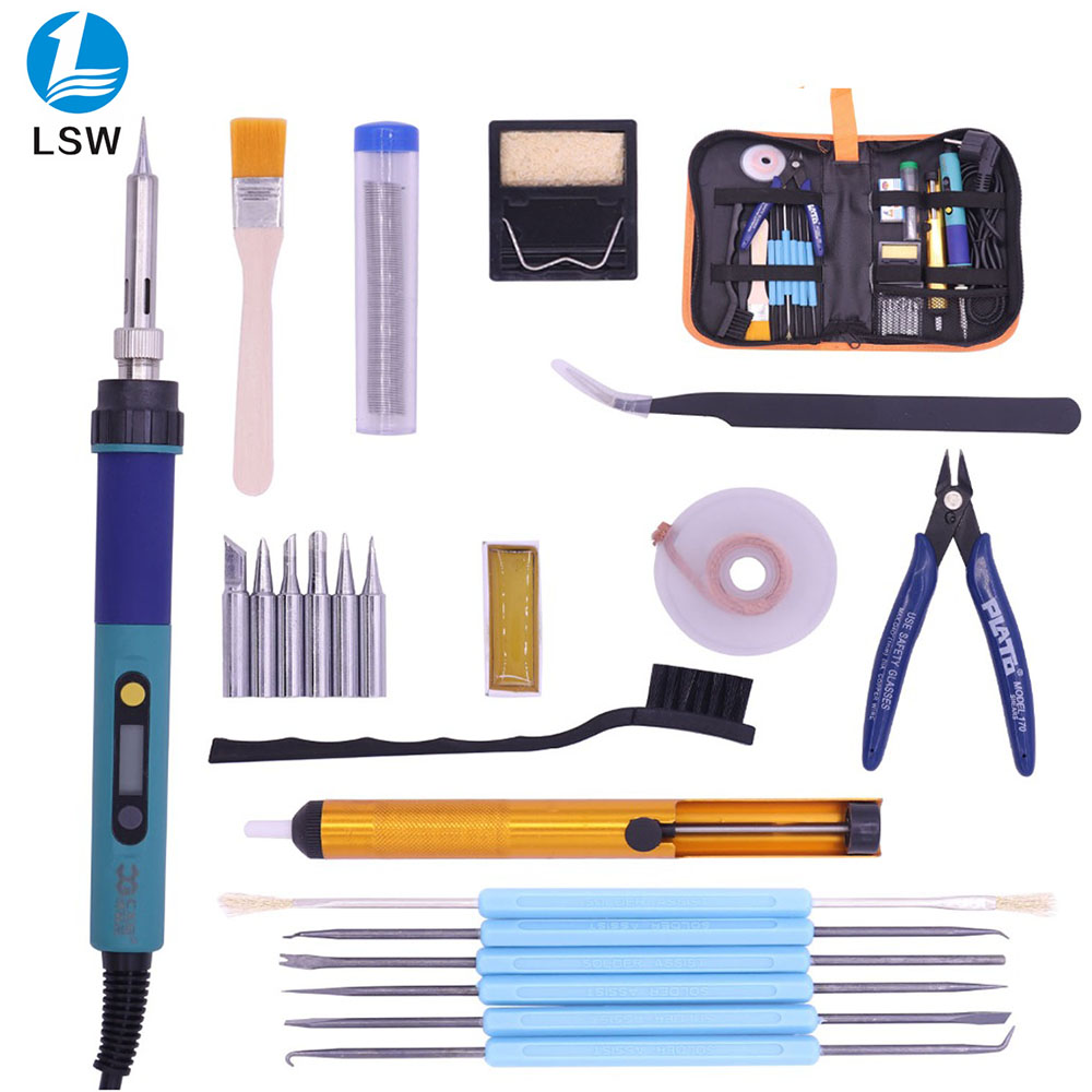 CXG <font><b>936d</b></font> EU Digital <font><b>LCD</b></font> Adjustable Electric soldering iron Soldering station kit set Welding repair kit SET Tweezers/Solder tip image