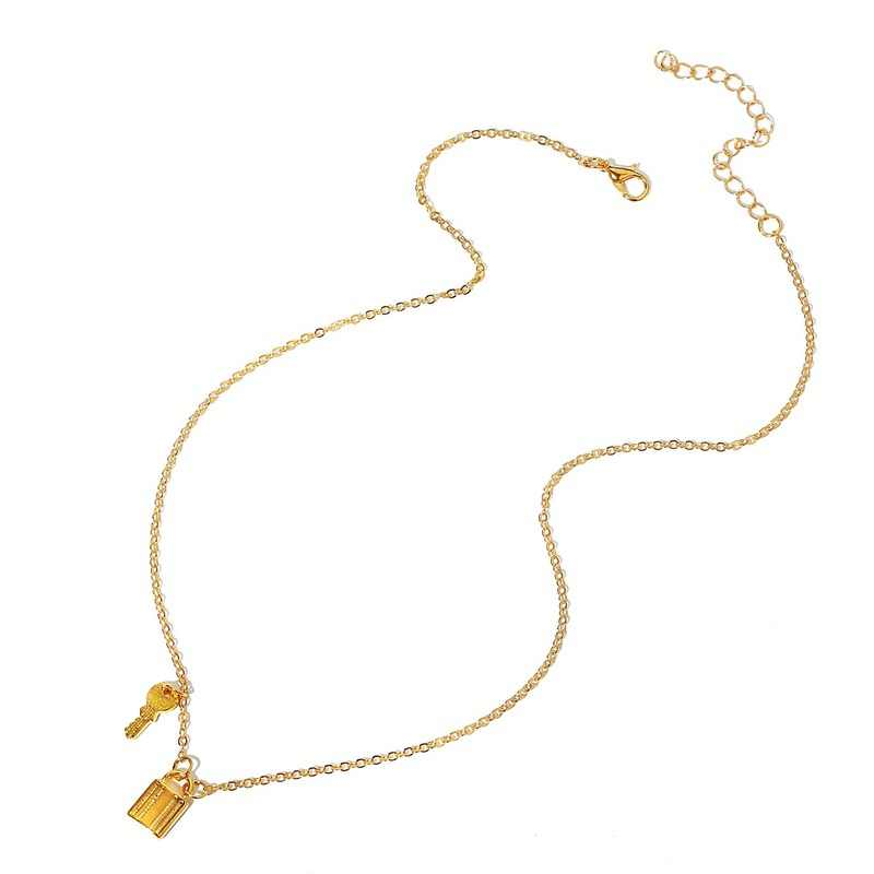 Gold Color Key Lock Pendant Necklace for Women Punk Vintage Clavicular Chain O-chain New Arrival Ladies Sweater Choker Necklace