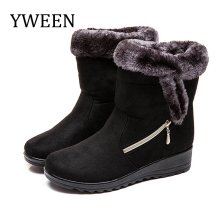 YWEEN Women snow boots platform winter boots thick plush waterproof non-slip boots fashion women winter shoes warm fur boots недорого