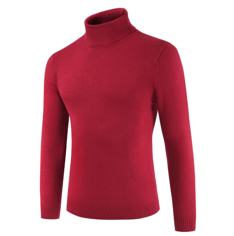 Mash2 2019 Men's New Men's Turtleneck Sweater Solid Color Sweater Solid Color Sweater Men