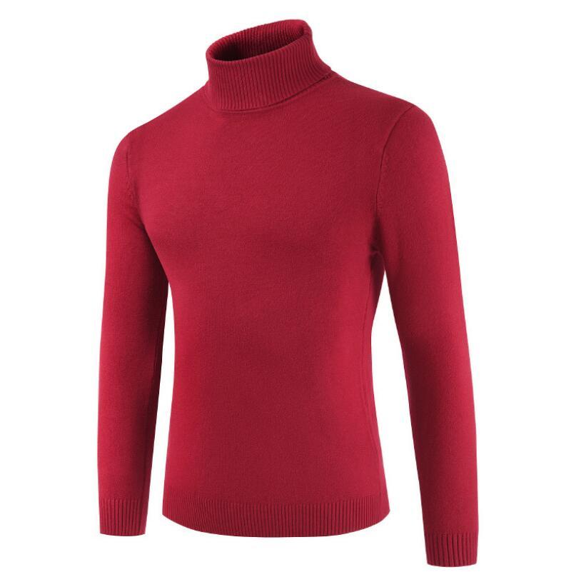 Mash2 2019 Men's New Men's Turtleneck Sweater Solid Color Sweater Solid Color Sweater Men