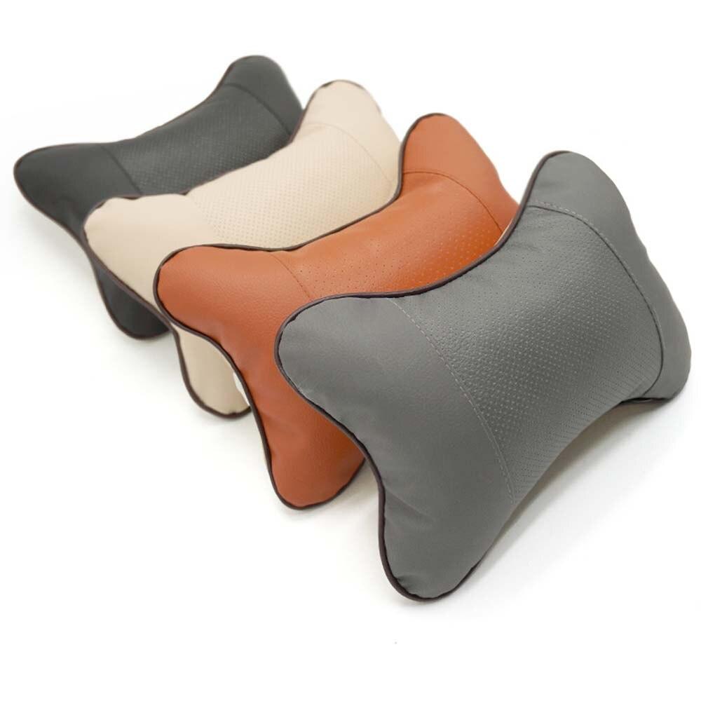 1PC Car Neck Pillow PVC Leather Breathable Mesh Auto Car Neck Rest Headrest Cushion Pillow