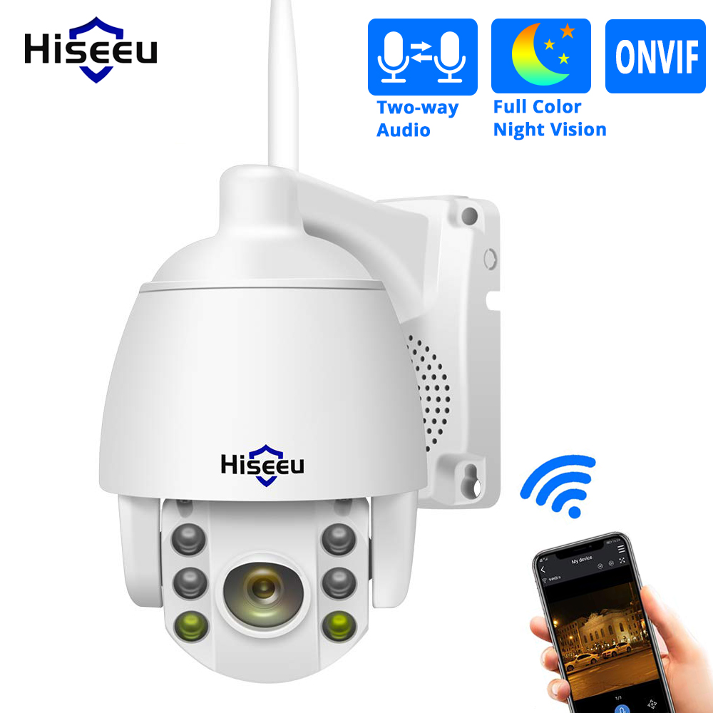 Hiseeu 1080P PTZ Wireless Security Camera 2MP 5X Digital Zoom WIFI Outdoor Two Way Audio for Wireless NVR System Kit Remote View image