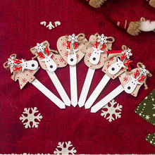 3pcs/Lot New Cake Toppers Christmas Baking Decorations Birthday Inserts Snowflakes Elk Head Wooden