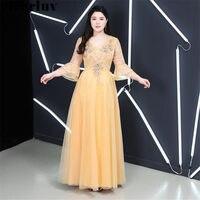 Evening Dress Long Elegant Robe De Soiree T378 2019 Plus Size Lace Flowers Women Party Dresses Golden V neck Evening Party Gowns