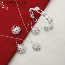 Silver 925 Jewelry Sets For Women Lady Flower Bangle Necklace Earrings Ring 4pcs Set Fashion Accessories Wholesale Gifts