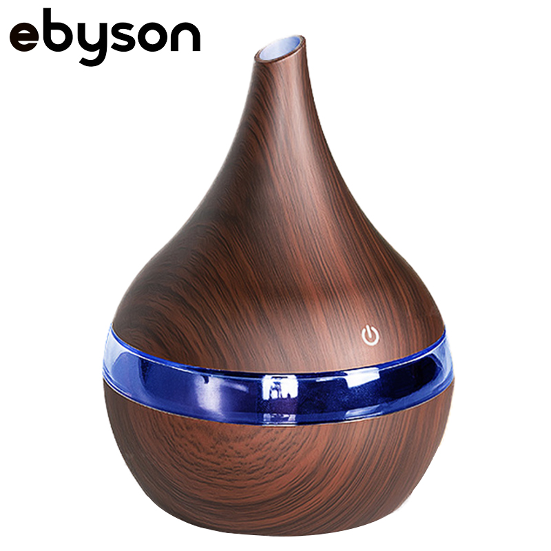 ebyson 300ml USB wood Ultrasonic air humidifier Electric Aroma air diffuser Essential oil Aromatherapy cool mist maker for home Humidifiers     - title=