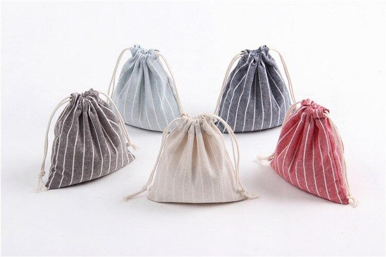 3Pcs/Set Drawstring Bags Unisex Stripe Cotton Storage Bags Foldable Tea/Candy/Gift/Clothes Case Pouch
