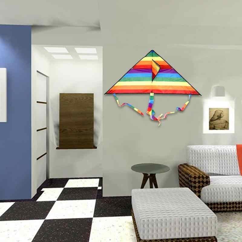 Regenboog Kleur Driehoek Kite Lange Staart Polyester Outdoor Vliegers Vliegen Speelgoed Voor Kinderen Stunt Surf Kite Met Controle Bar En lijn