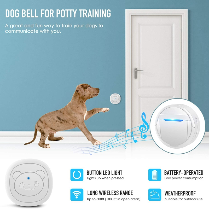Dog Bells for Potty Training, Dog Training Bell for Door Chime Waterproof Communication Wireless Doggy Doorbell with Transmitter-2