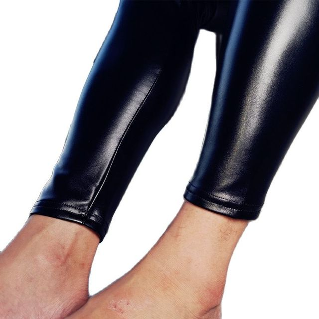 Mens Fad Punk Elastic Tight Trousers PU Faux Leather Glossy Stage Pencil Pants Sexy Clubwear Gay Club Dance Wear Velvet Legging 6