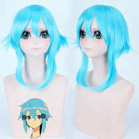 Sword Art Online Sinon/Asada Cosplay de Shino peluca SAO 40cm pelucas cortas azul hielo resistente al calor fibra sintética pelo falso
