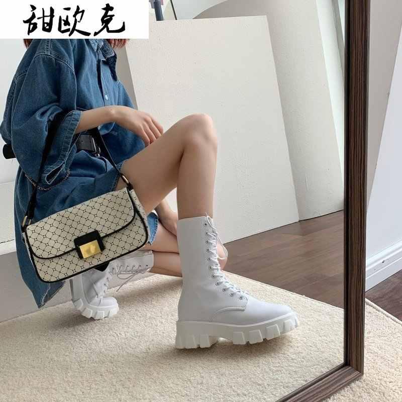 2020 Fashion Pertengahan Betis Boots Platform Wanita PU Kulit Renda Sepatu Bot Wanita Hitam Putih Sepatu Bot Militer Wanita pasang Kaos Mujer