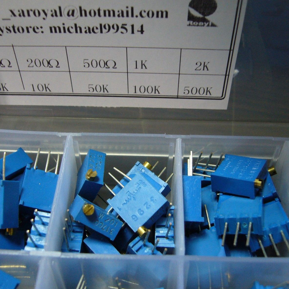 50PCS Trimmer 100 To 1M Blue Potentiometer Resistor Multiturn Variable Cermet