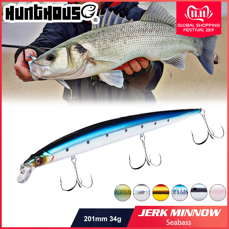 Hunthouse 2019 new fishing lure tide minnow 210mm/34g jerkbait long casting SURF BAIT floating pesca steel stainless