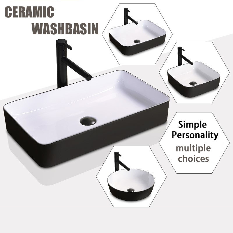 Nordic Ceramic Washbasin Simple Black Lavatory Bathroom Tap Countertop Basin Toilet Sink Mixed Faucet Shampoo Basin & Free Drain