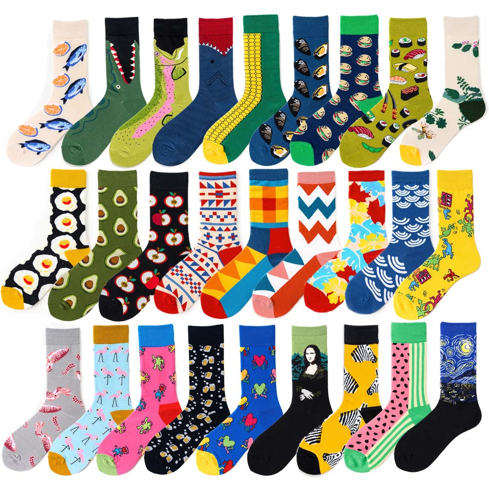 Novelty Happy Funny Men Graphic Socks Combed Cotton Omelette Frog Crazy Burger Salmon Corn Avocado Bird Fish Sock Christmas Gift 1