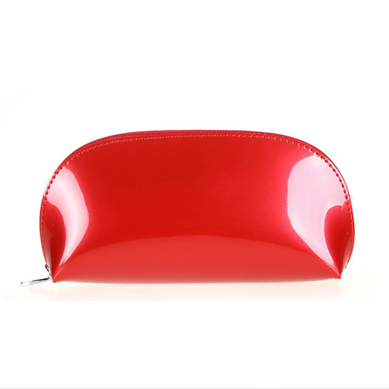 New Women Makeup Bag Patent Leather Candy Solid Make Up Bags Ladies Girl Zipper Cosmetic Bag Small Toiletry Bag
